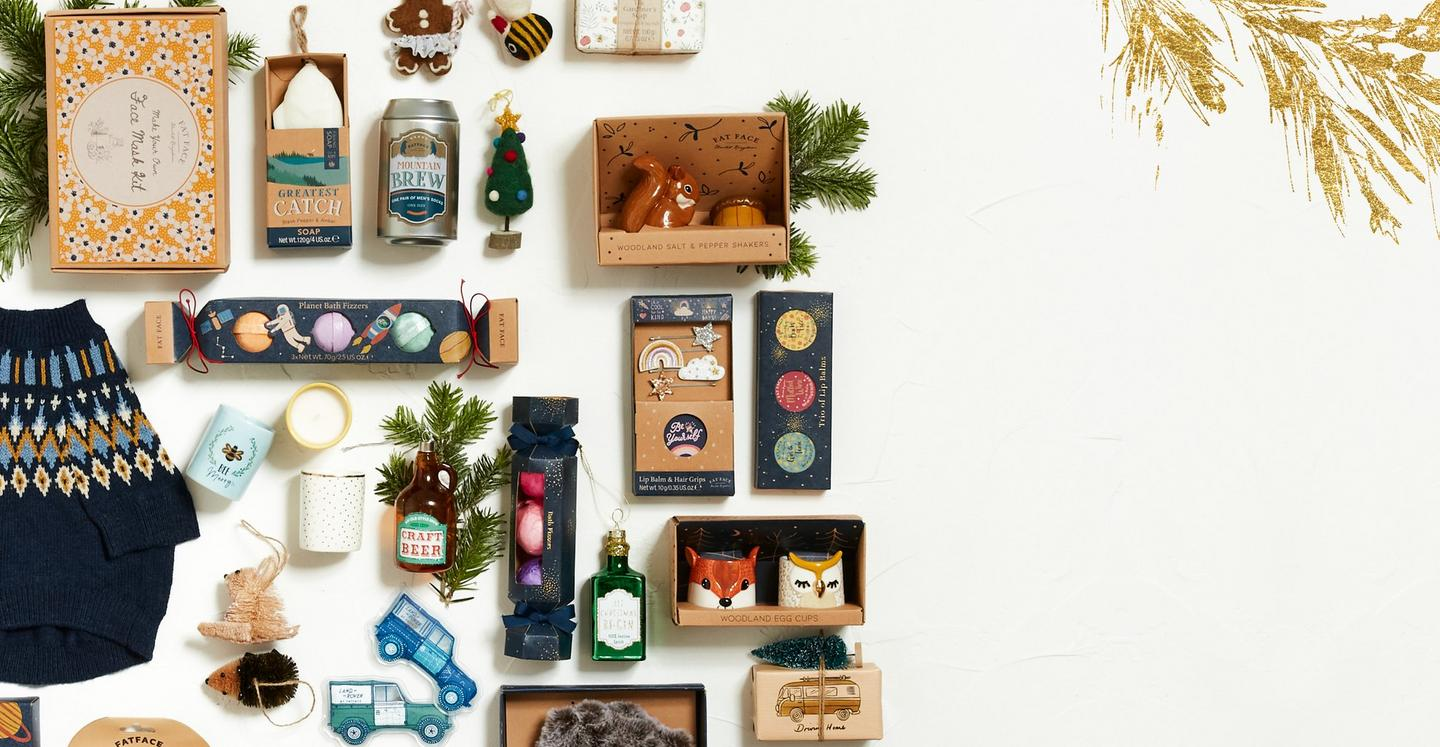 A selection of FatFace Christmas gifts, including decorations, homewares & toiletries.