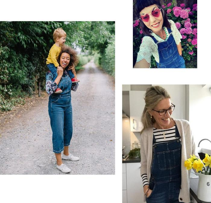 Happy FatFace fans wearing various styles of denim dungarees.