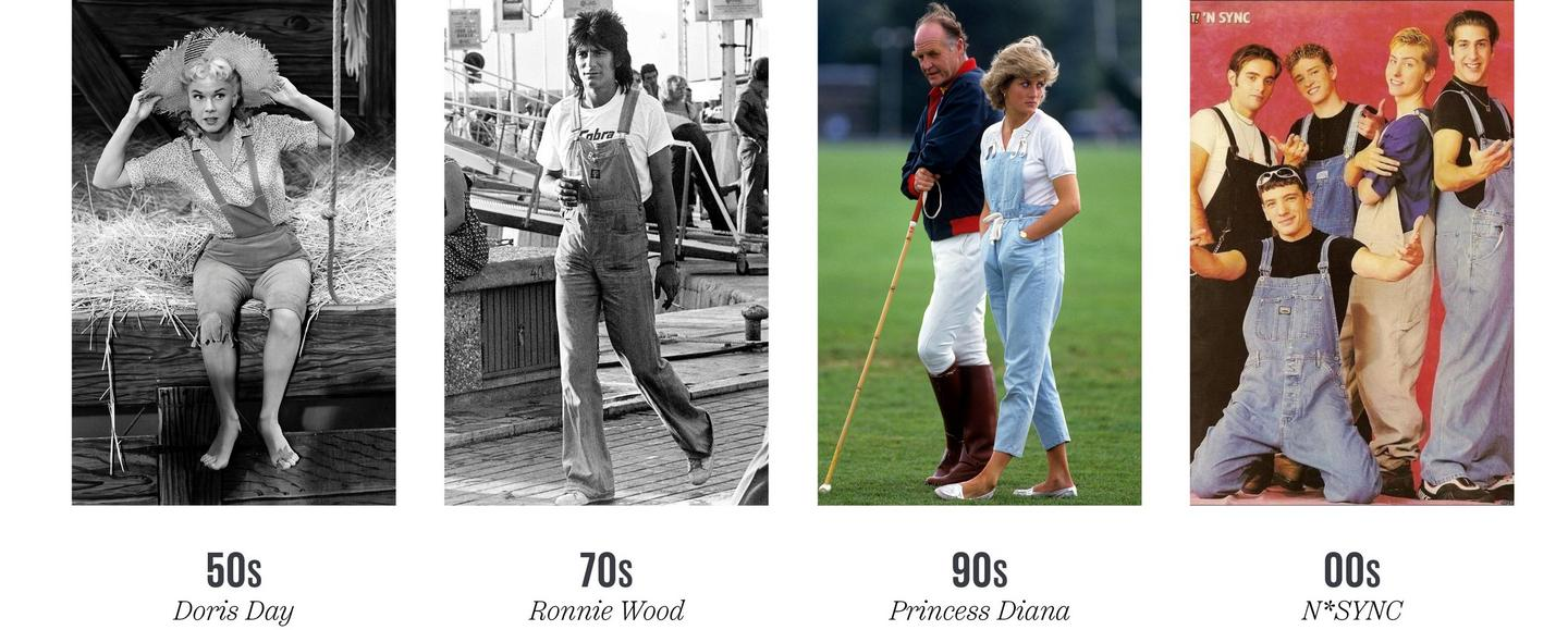 Famous people wearing dungarees over the decades: 50s - Doris Day, 70s - Ronnie Wood, 90s - Princess Diana, 00s - N*SYNC.