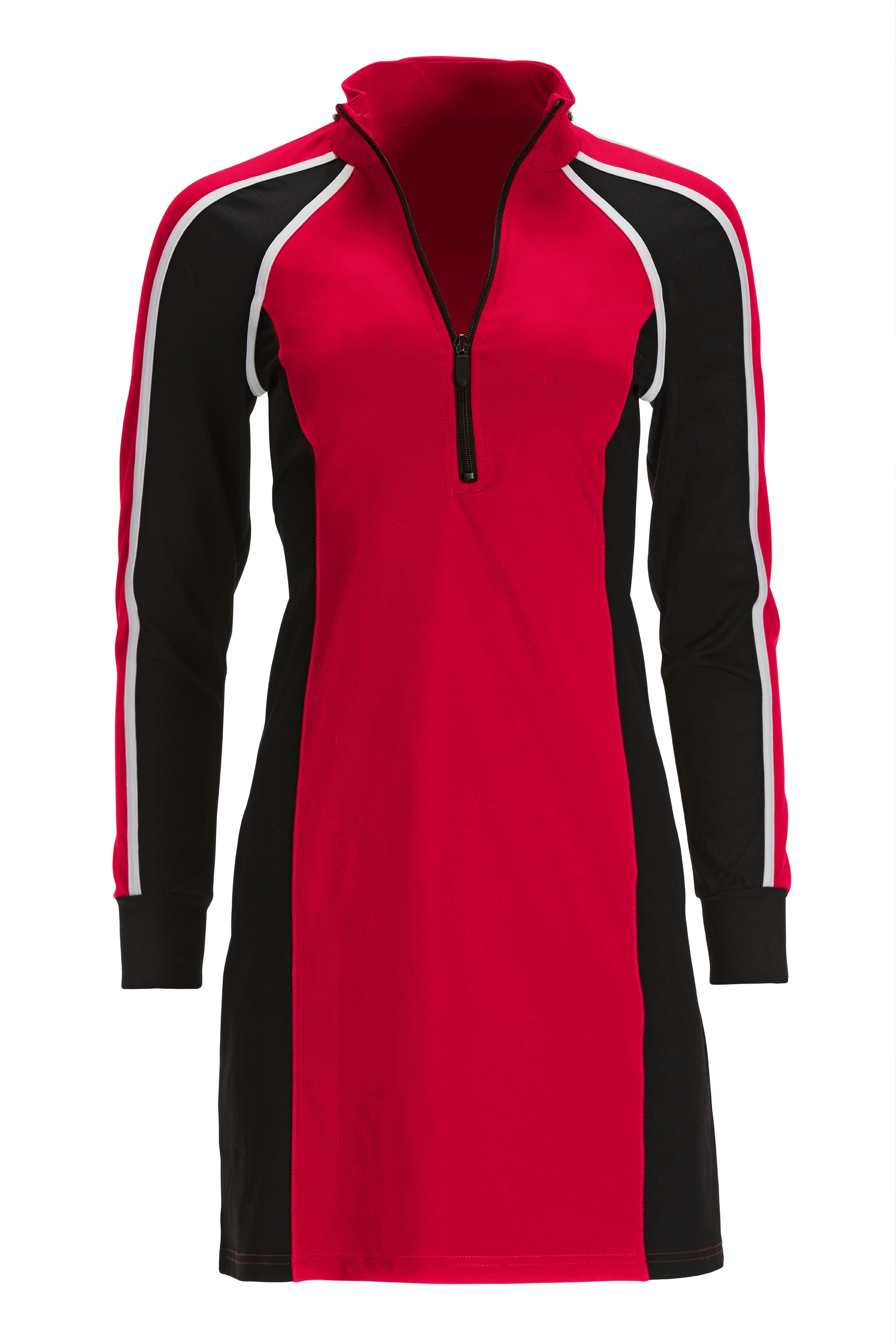 red, white, and black colorblock long-sleeve sport dress.
