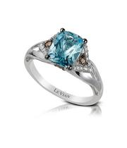 Le Vian 14ct Vanilla Gold Diamond & Aquamarine Ring
