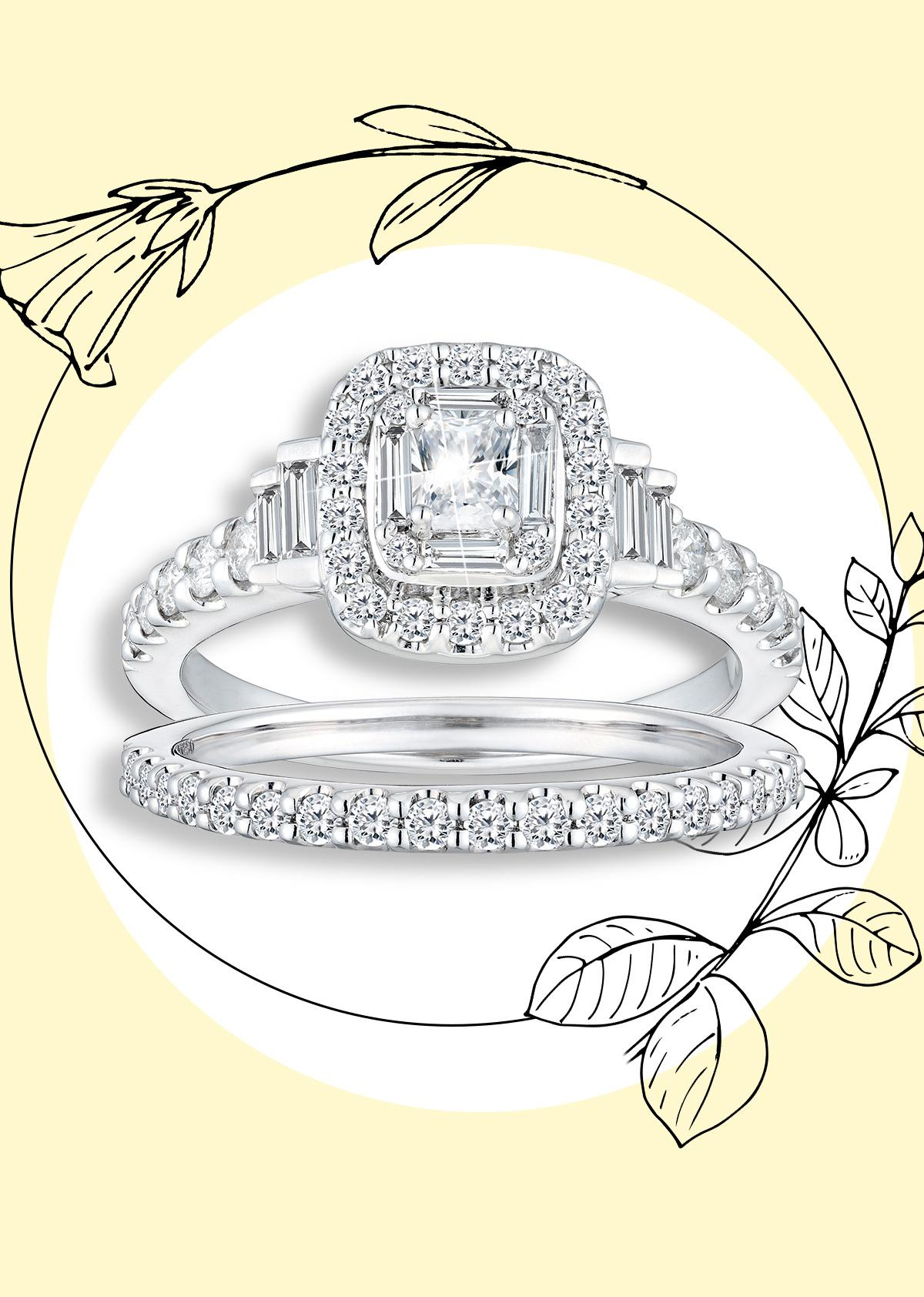 Platinum 1ct Diamond Radiant Baguette Bridal Ring Set
