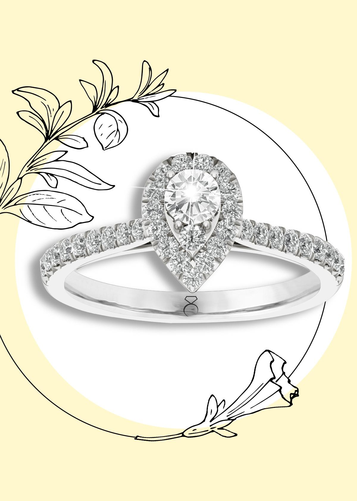 The Diamond Story 18ct White Gold 0.50ct Diamond Pear Ring