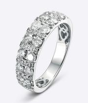 18ct White Gold 1ct Diamond Two Row Ring