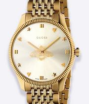 Gucci G-Timeless Slim Ladies' Gold Tone Bracelet Watch