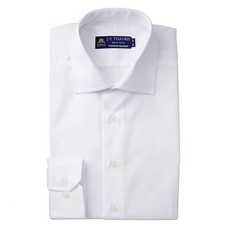 Adjustable button cuff on white dress shirt