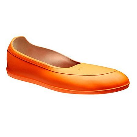 Orange water-repellant overshoes