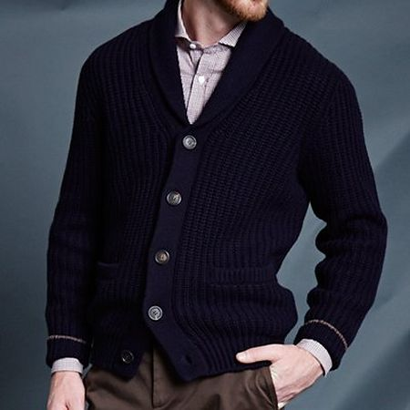 Navy cardigan with shawl collar