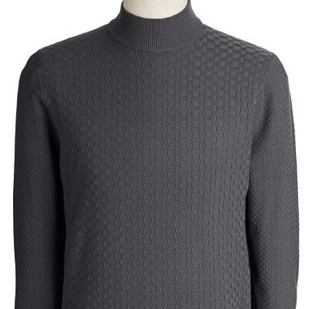 Textured grey mockneck knit