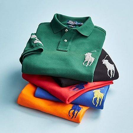 Stacked Polo Ralph Lauren polo shirts with large logo