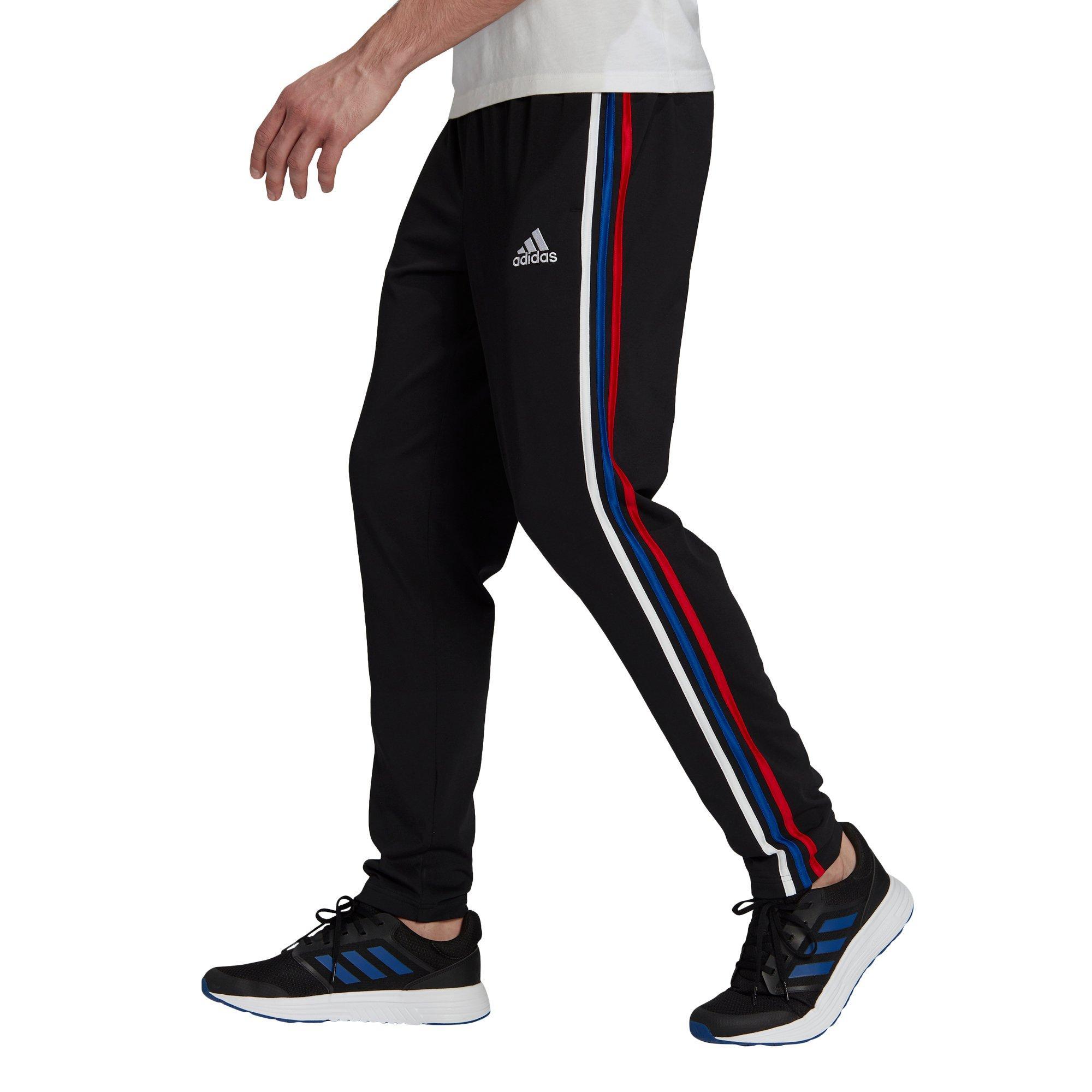 adidas Men's Essentials Single Jersey Tapered Open Hem 3-Stripes ...