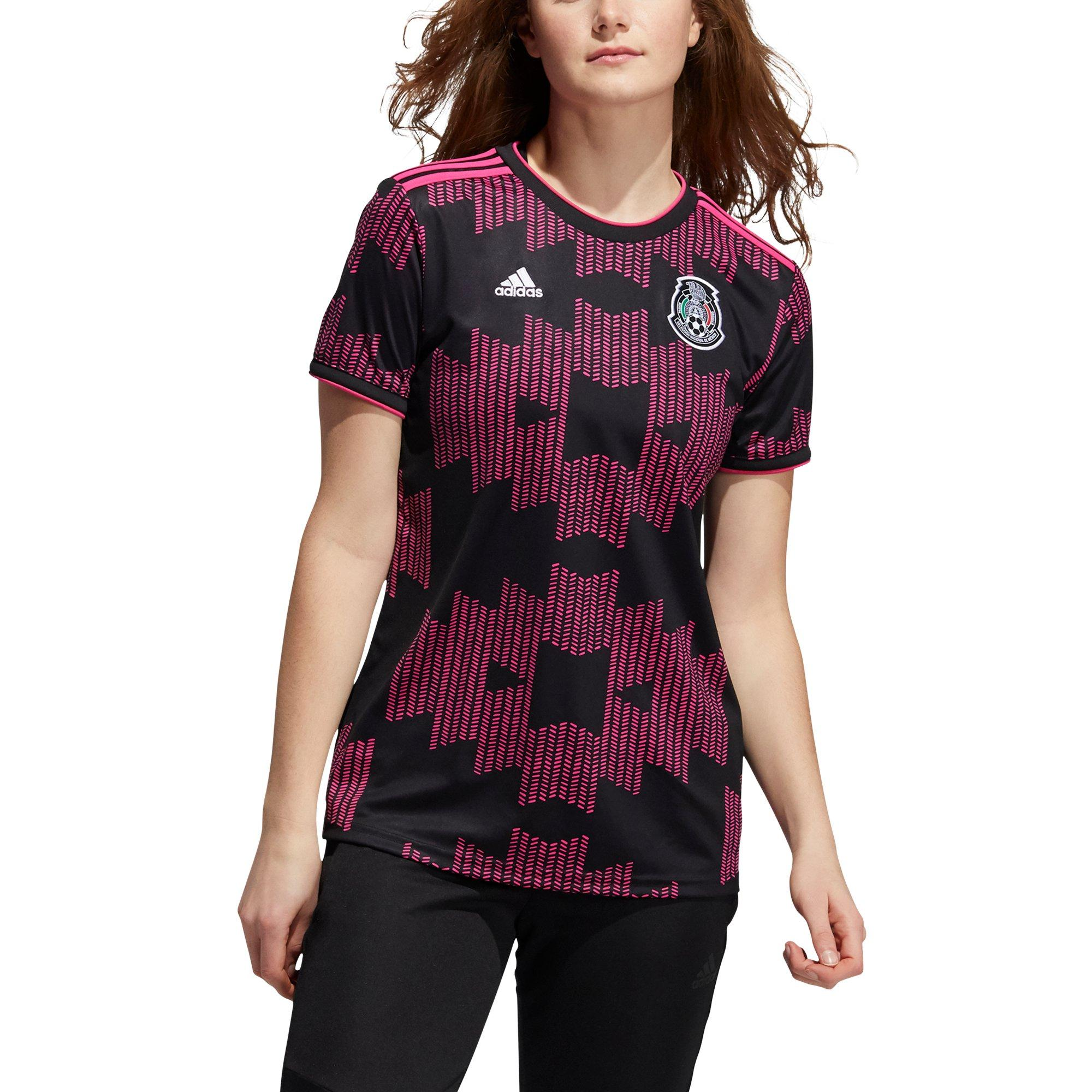 adidas Women's Black/Real Magenta Soccer Mexico Home Jersey
