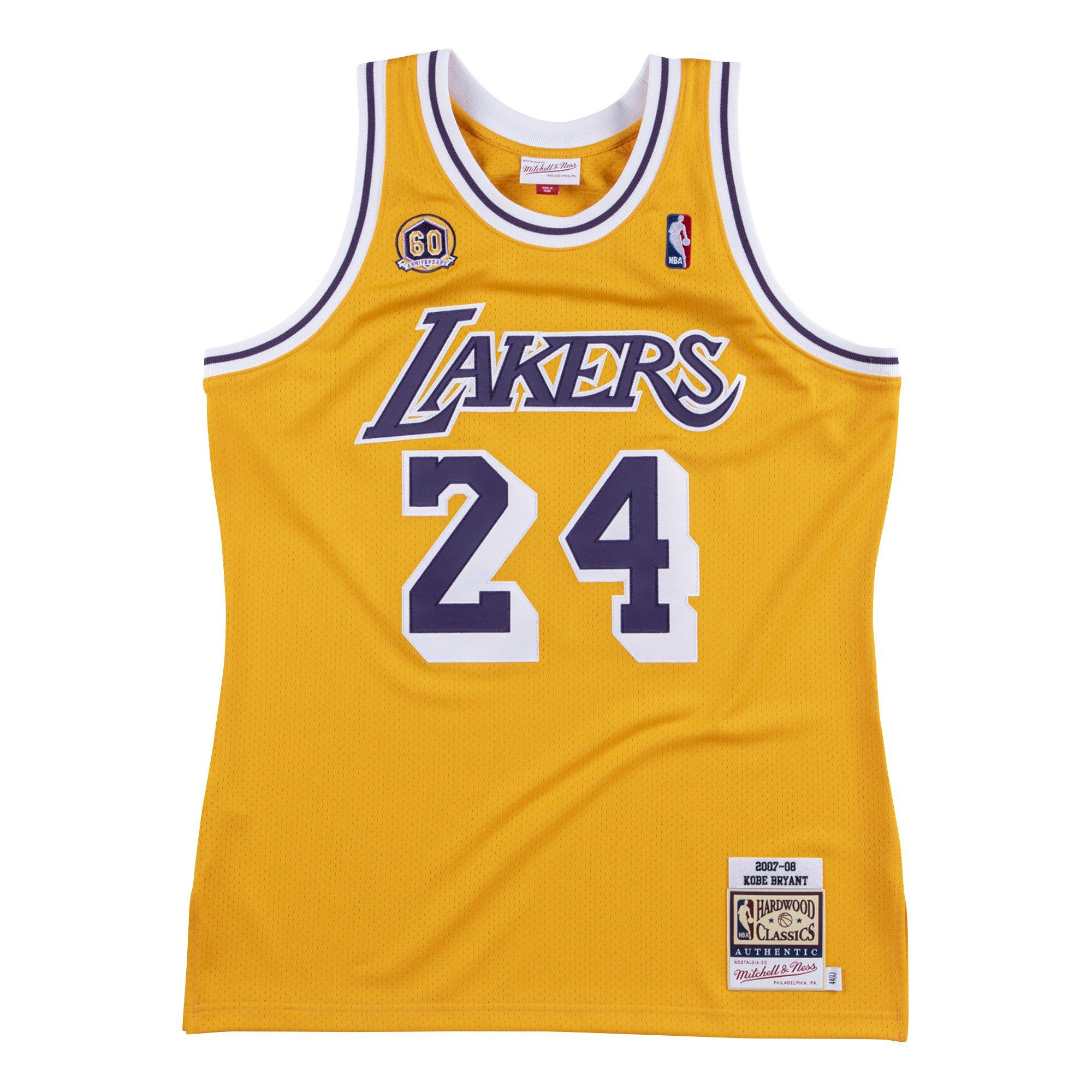 Mitchell & Ness Men's Los Angeles Lakers Kobe Bryant 60th Anniversary Patch Authentic Jersey