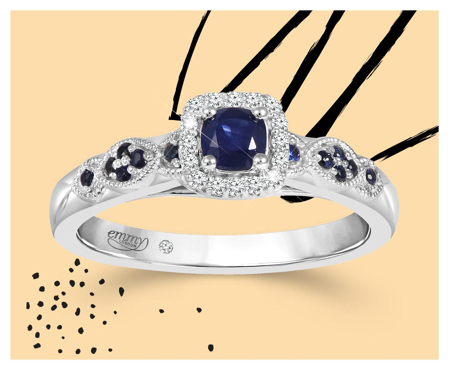 Emmy London 18ct White Gold Sapphire 0.05ct Diamond Ring