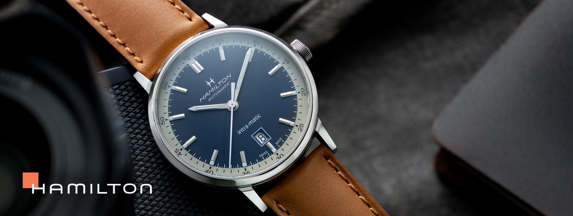 Hamilton, Brown Leather Watch with Blue Face