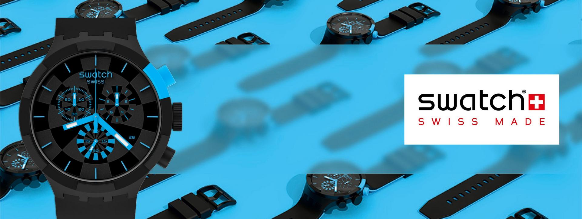 Swatch, Discover the range, Swatch with black face and blue dials