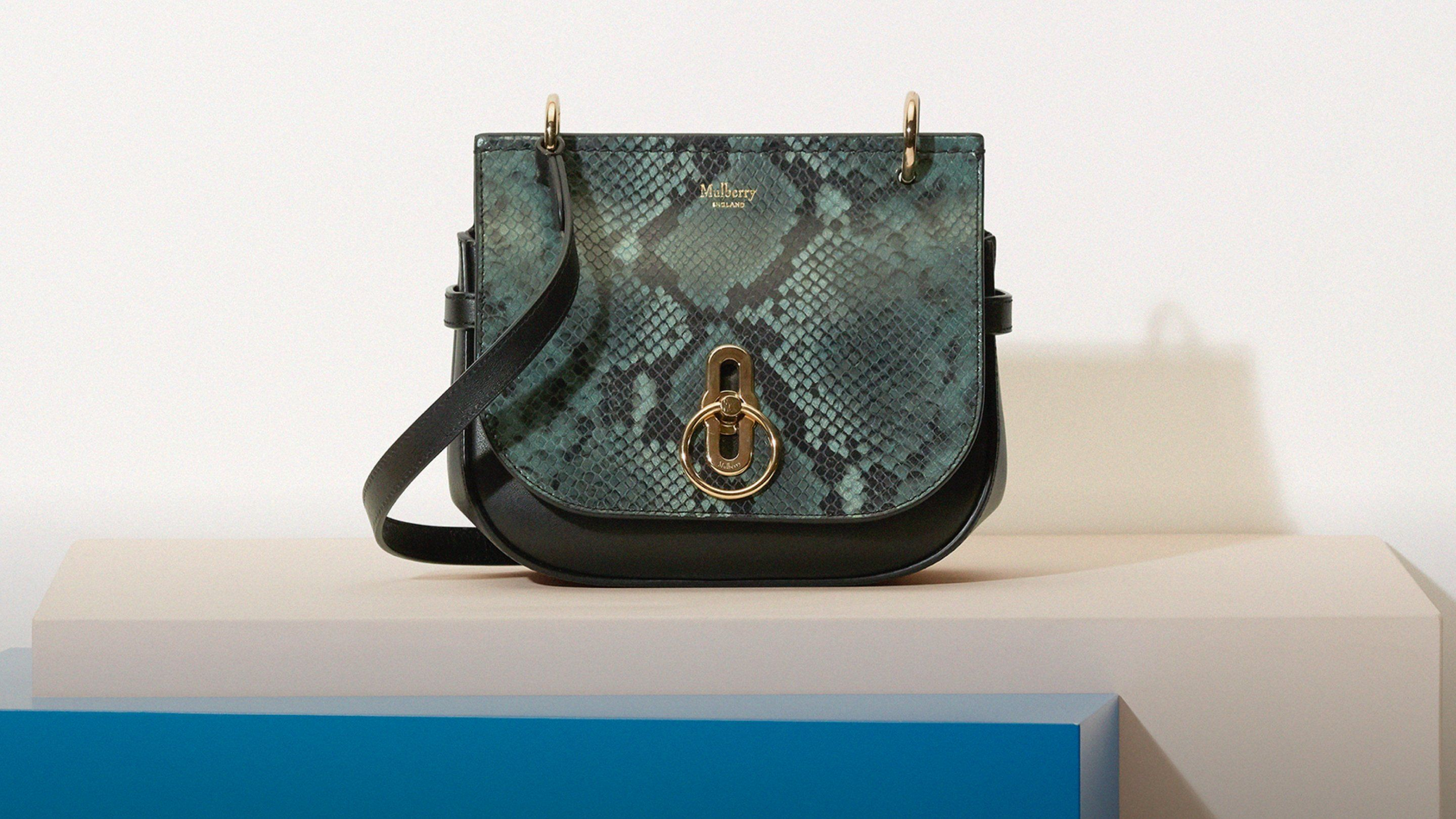 Small Amberley Satchel Mulberry Green Python
